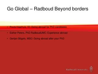 Go Global – Radboud Beyond borders