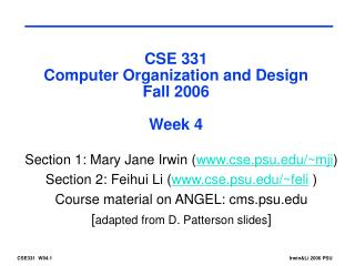 CSE 331 Computer Organization and Design Fall 2006 Week 4