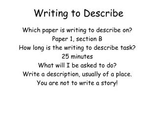 Writing to Describe