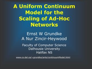 A Uniform Continuum Model for the  Scaling of Ad-Hoc Networks
