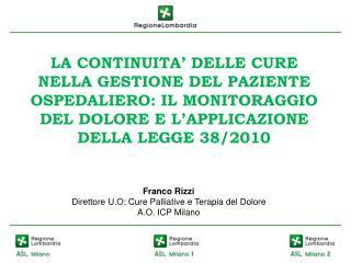 Franco Rizzi Direttore U.O: Cure Palliative e Terapia del Dolore A.O. ICP Milano