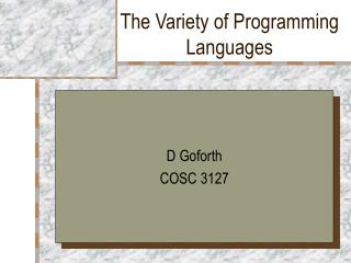 The Variety of Programming Languages