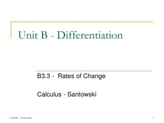 Unit B - Differentiation