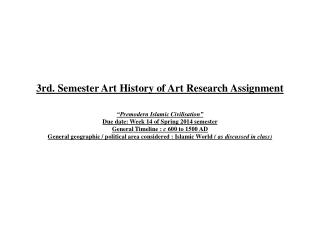3rd. Semester Art History of Art Research Assignment