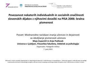 Posvet: Mednarodne raziskave znanja učencev in dejavnosti za izboljšanje pismenosti učencev