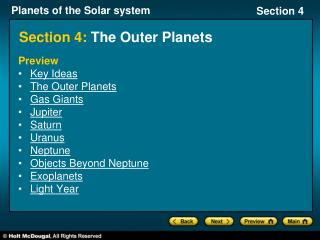 Section 4:  The Outer Planets