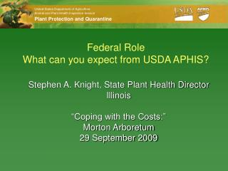 Federal Role  What can you expect from USDA APHIS?