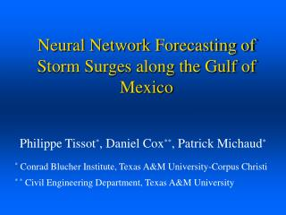 Neural Network Forecasting of Storm Surges along the Gulf of Mexico