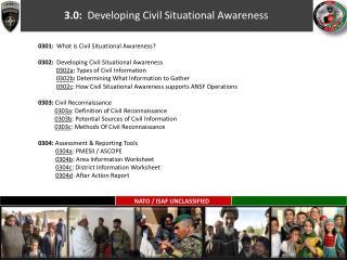 3.0:   Developing Civil  Situational Awareness