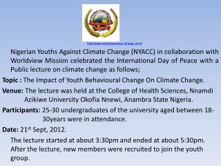 NIGERIAN YOUTHS AGAINST CLIMATE CHANGE (NYACC)  IN COLLABORATION WITH  WORLDVIEW MISSION