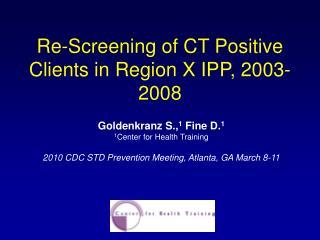Re-Screening of CT Positive Clients in Region X IPP, 2003-2008