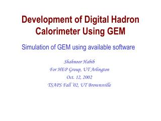 Development of Digital Hadron Calorimeter Using GEM