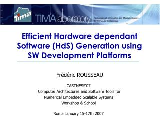 Efficient Hardware dependant Software (HdS) Generation using  SW Development Platforms