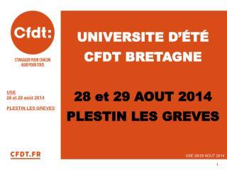 UNIVERSITE D'ÉTÉ CFDT BRETAGNE 28 et 29 AOUT 2014 PLESTIN LES GREVES