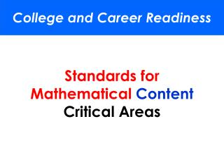 Standards  for Mathematical  Content Critical Areas
