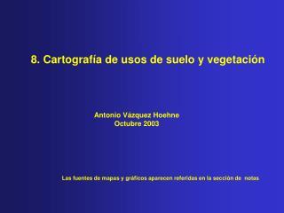 8. Cartografía de usos de suelo y vegetación
