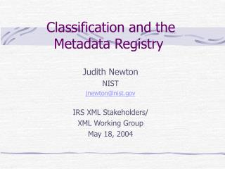 Classification and the Metadata Registry