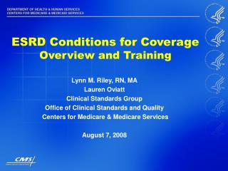 ESRD Conditions for Coverage Overview and Training