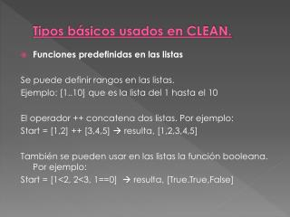 Tipos básicos usados en CLEAN.