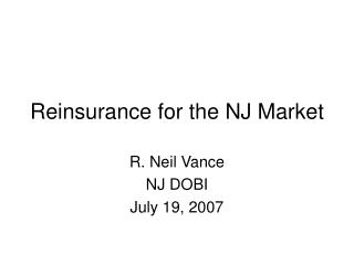 Reinsurance for the NJ Market