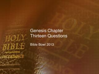 Genesis Chapter Thirteen Questions
