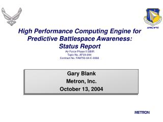Gary Blank Metron, Inc. October 13, 2004