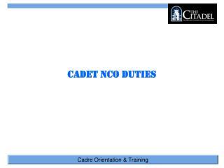 Cadet NCO Duties