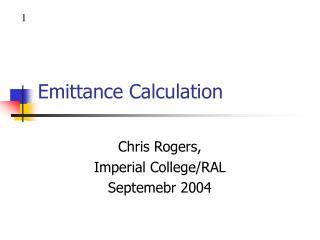 Emittance Calculation