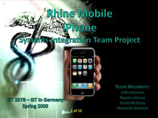 Rhine Mobile iPhone Systems Integration  Team Project