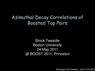 Azimuthal Decay Correlations of  Boosted Top Pairs