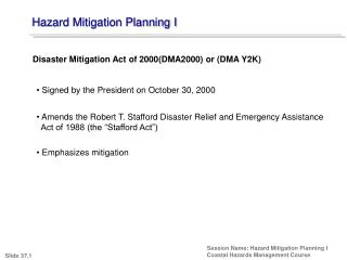 Hazard Mitigation Planning I