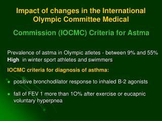 Impact of changes in the International Olympic Committee Medical