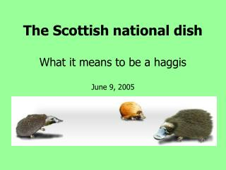 The Scottish national dish  What it means to be a haggis  June 9, 2005