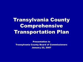 Transylvania County Comprehensive Transportation Plan