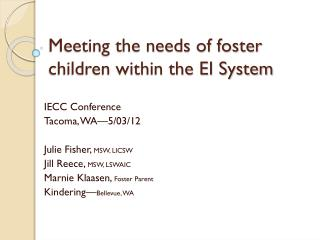 Meeting the needs of foster children within the EI System