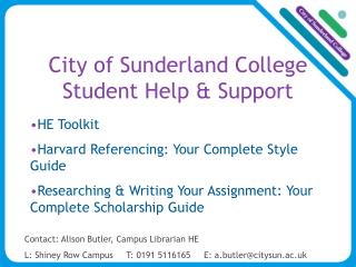 City of Sunderland College  Student Help & Support