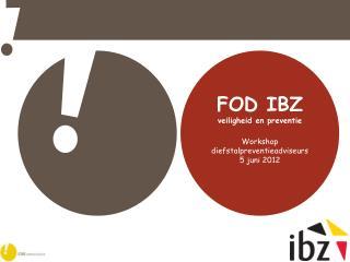 FOD IBZ veiligheid en preventie Workshop diefstalpreventieadviseurs 5 juni 2012