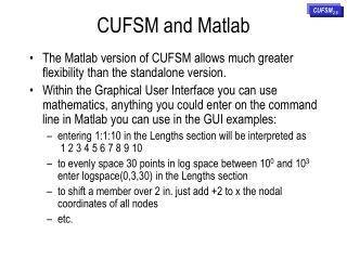 CUFSM and Matlab