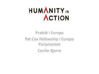 Praktik i Europa Pat Cox  Fellowship  i Europa Parlamentet Cecilie Bjerre