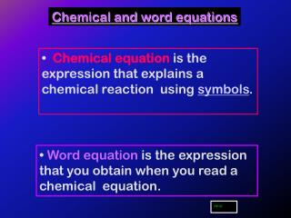Chemical and word equations