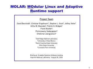 MOLAR:  MO dular  L inux and  A daptive  R untime support