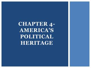 Chapter 4- America's Political Heritage