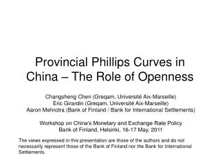 Provincial Phillips Curves in China   The Role of Openness