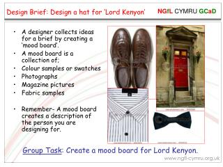 Design Brief: Design a hat for 'Lord Kenyon'