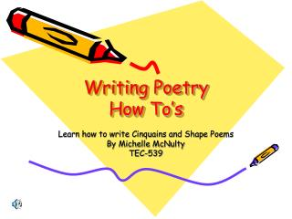 Writing Poetry  How To's