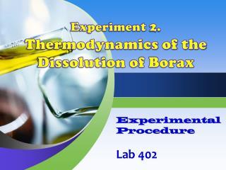 Experimental  Procedure Lab  402