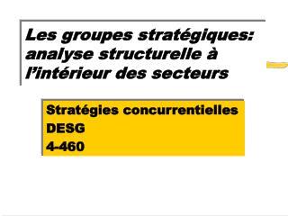 Les groupes stratégiques: analyse structurelle à l'intérieur des secteurs