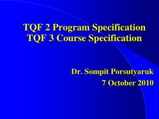 TQF 2 Program Specification TQF 3 Course Specification
