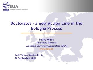 Doctorates � a new Action Line in the Bologna Process