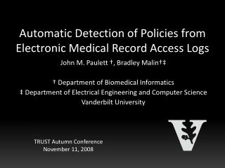 Automatic Detection of Policies from Electronic Medical Record Access Logs